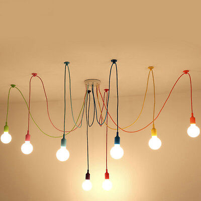 1/6/8/10 Heads Colorful Spider Hanging Pendant Light Chandelier Ceiling Lamp E27