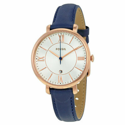 Fossil Women's Jacqueline Blue Leather Japanese Quartz Watch ES3843 NEW!