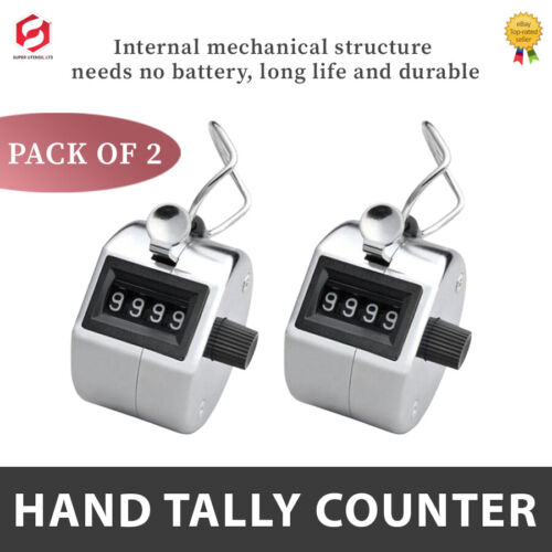 2x4 Digit Counting Manual Hand Tally Number Counter Mechanical Click Clicker New