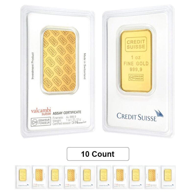 Lot Of 10 - 1 Oz Credit Suisse Gold Bar .9999 Fine (in Assay)