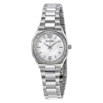 Bulova Women's Watch 96R199 Diamond Bezel Mother of Pearl Dial 26mm Watch