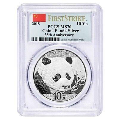 2018 30 Gram Chinese Silver Panda 10 Yuan Pcgs Ms 70 First Strike