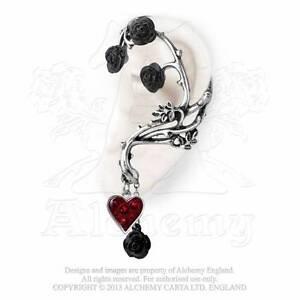 Gothic schwarze Rosen Ohrring Ohrstecker Jugendstil Art Nouveau ALCHEMY E329