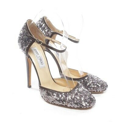 JIMMY CHOO Pumps Gr. D 39 Silber Damen Schuhe High Heels Shoes Chaussures