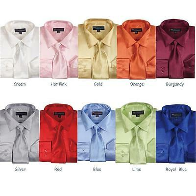Formal Dress Shirt (Men's Shiny Satin Polyester Formal Dress Shirt w/ Tie and Hanky Set #08)
