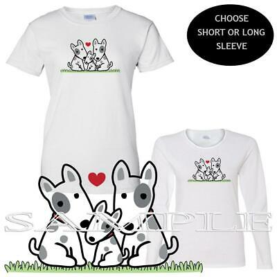 Bull Terrier Dog Family Trio Puppies Art Ladies Short / Long Sleeve T Shirt  Bull Terrier Ladies T-shirt