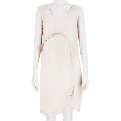 Stella McCartney Nude Blush Layered Curved Satin Trim Dress IT42 UK10 42 Curved Trim