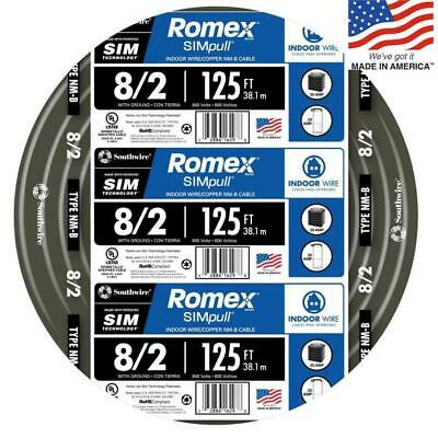 Southwire 82 Awg Gauge 125ft Indoor Electrical Copper Wire Ground Romex Cable