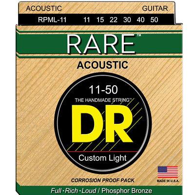 Rare Phosphor Bronze Acoustic Guitar - DR RPML-11 RARE Phosphor Bronze Acoustic Guitar Strings, Medium-Lite 11-50, New!
