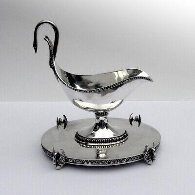 Swan Gravy Boat Pedestal Tray Set Spanish 916 Silver 1900