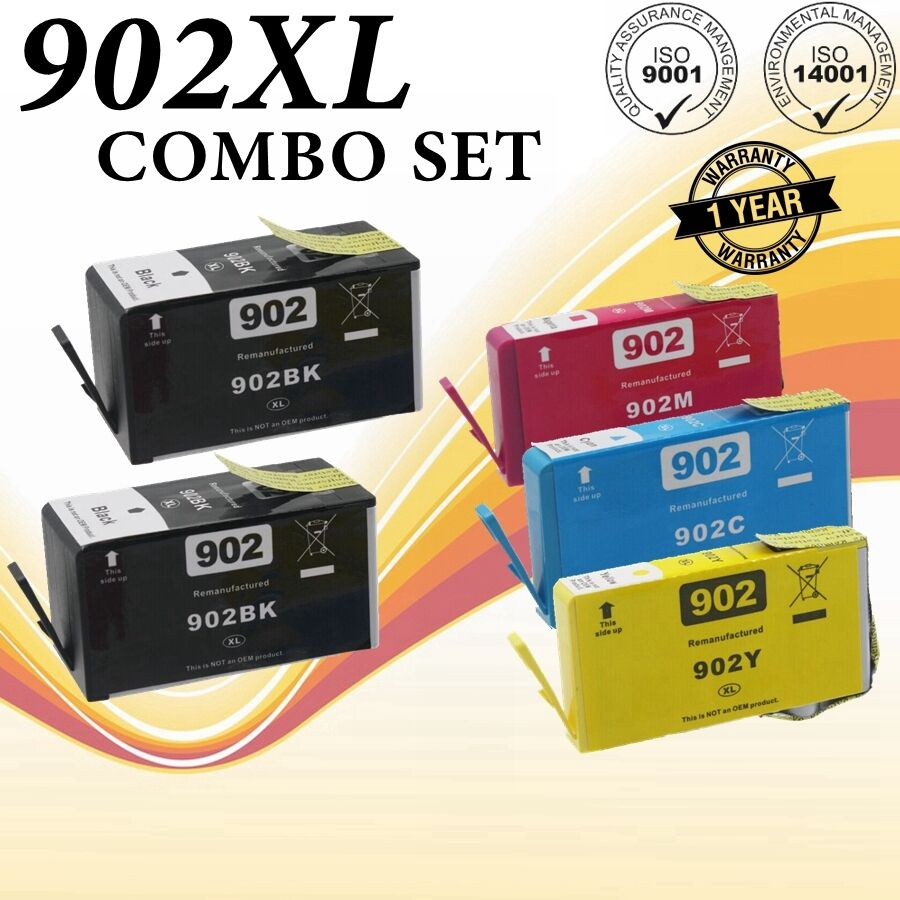 5Pk Compatible Ink Cartridge Set for HP 902 OfficeJet 6950 6951 6954 5958 6962