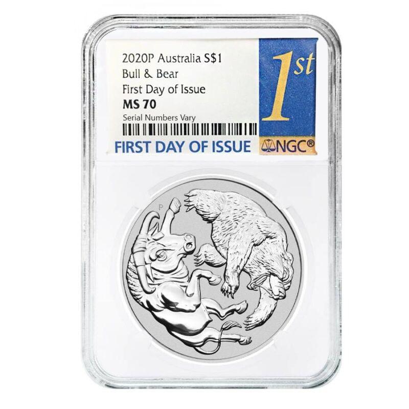 2020 1 oz Silver Australian Bull and Bear Coin Perth Mint NGC MS 70 FDOI