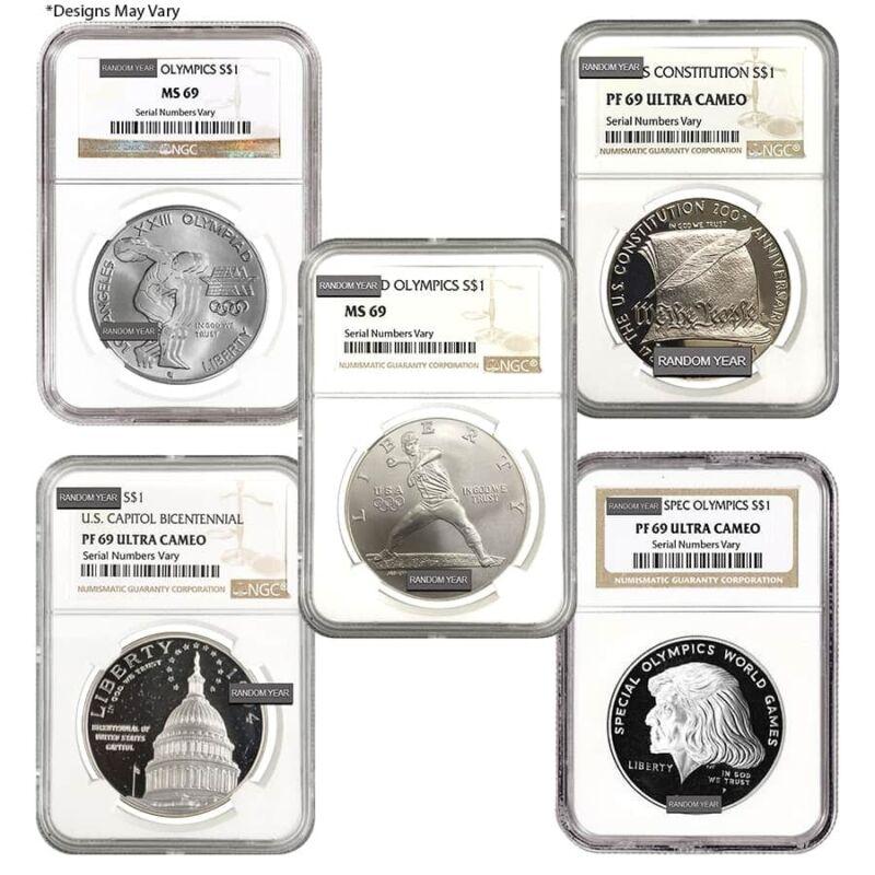 Sale Price - U.S. Mint $1 Silver Dollar Commemorative NGC MS/PF 69 Random Year