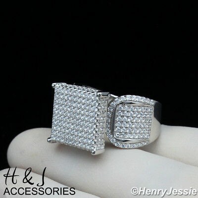 WOMEN 925 STERLING SILVER BLING 15MM SQUARE ENGAGEMENT WEDDING RING SIZE6-9*S112 ()