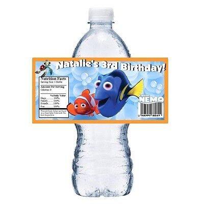 20 FINDING NEMO PERSONALIZED BIRTHDAY PARTY FAVORS WATER BOTTLE LABELS WRAPPERS