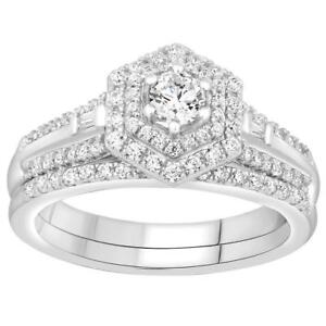 14kt White Gold Diamond Engagement Ring & Wedding Band Set 0.75ct