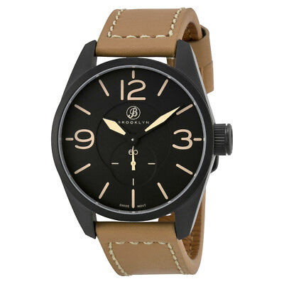 Brooklyn Watch Co. Lafayette Black Dial Tan Leather Men's Watch CLA-C
