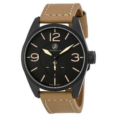 Brooklyn Watch Co. Lafayette Black Dial Tan Leather Men's Watch CLA-C