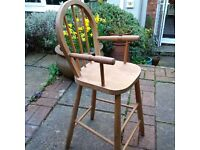 Vintage Childs Wooden Tall Chair