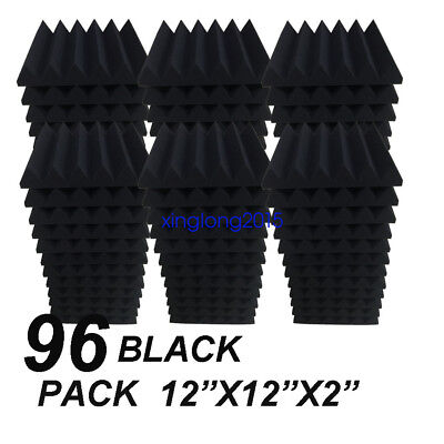 "12"" x 12"" x 2"" 96 Pack Black Acoustic Wedge Studio Soundproofing Foam Wall Tiles"