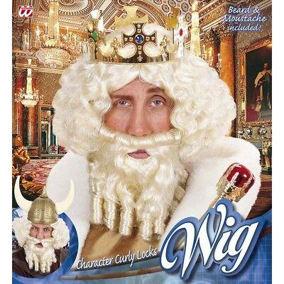 BLONDE PERÜCKE & BART König Mittelalter Wikinger Wilder Herren Kostüm Party - Wikinger König Kostüm