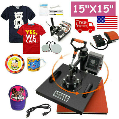 5 In 1 Heat Press Machine Digital Transfer Sublimation Plate T-shirt Mug 15x15