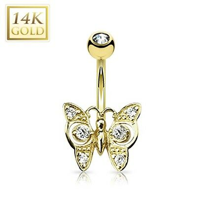 14K Solid GOLD BELLY Button NAVEL RING Body Piercing Jewelry * JEWELED BUTTERFLY Butterfly Gold Belly Button Ring