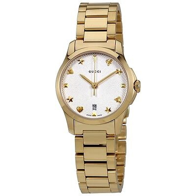 New Gucci G-Timeless Gold Tone Stainless Steel Women's Watch YA126576