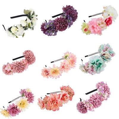 Flower Crown Headband Garland Hairband Party Wedding Wreath (Bridal Rose)