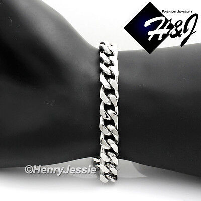 "8""MEN 316 L Stainless Steel 9x4mm Silver Cuban Curb Chain Bracelet"