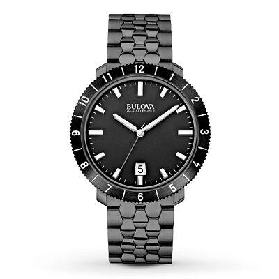 Accutron Black Bracelet - Bulova Accutron II Moonview Men's 98B218 Quartz Black Bracelet 42mm Watch