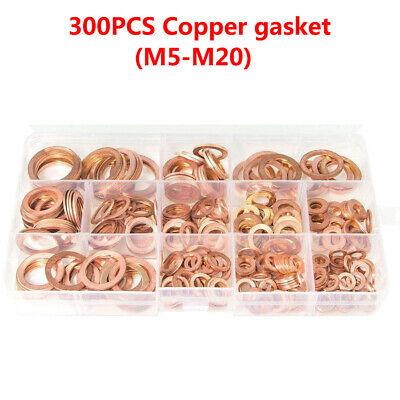 300Pcs M5-M20 Copper Hardware Oil Seal Ring Seal Gasket Set Flat Washer Fastener