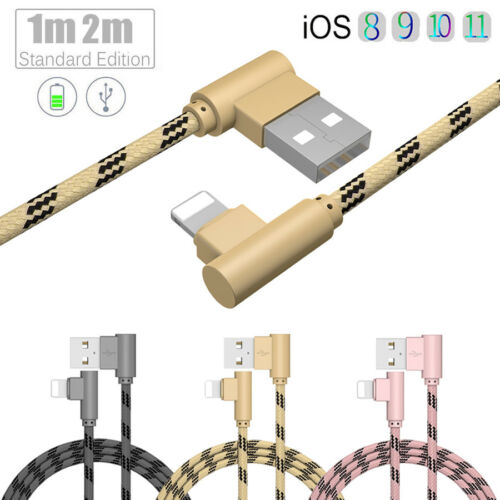 90 Degree Right Angle USB Lightning Fast Charging Charger Cable For iPhone X 8 7