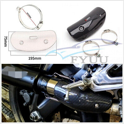CARBON FIBER LOOK STAINLESS STEEL MOTORCYCLE PROTECTOR MUFFLER HEAT SH