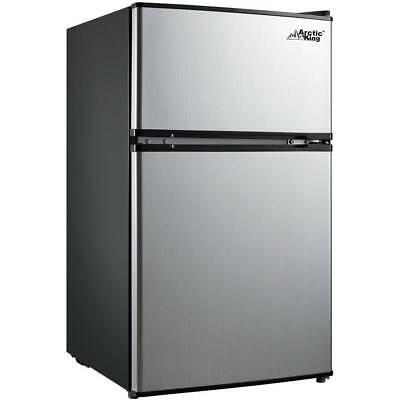 Refrigerator with Mini Freezer 2-Door Stainless Steel Home Office Dorm Fridge