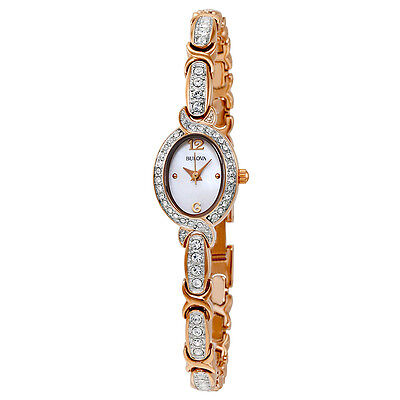 Bulova Women's 98L200 Crystal Collection Rose Gold Quartz Bracelet Dress Watch