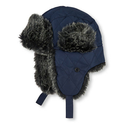 THE CHILDREN'S PLACE BOY BLUE QUILTED FAUX FUR  AVIATOR TRAPPER HAT - Kids Aviator Hat