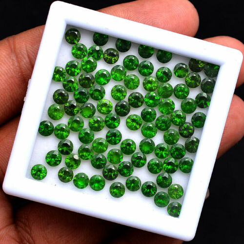 77 Pcs Natural Chrome Diopside Vivid Green 4MM Round Deluxe Quality Gemstones