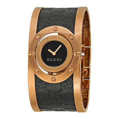 New Gucci Twirl Rose Tone Guccissima Leather Bangle Women's Watch YA112438