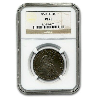 Click now to see the BUY IT NOW Price! 1870 CC LIBERTY SEATED HALF DOLLAR VF 25 NGC