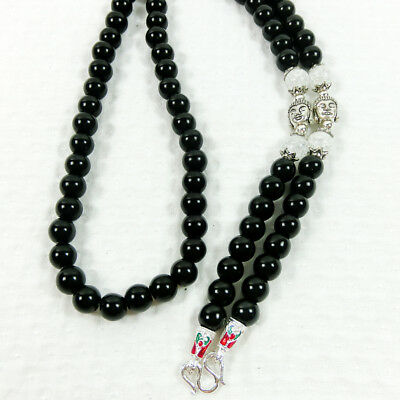 Powerful Silver Buddha Black & White Stone Beads Necklace Pendant Thai Amulet