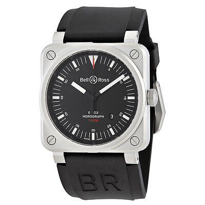 Bell and Ross Horograph Black Dial Mens Watch BR0392-HOR-BLCSRB