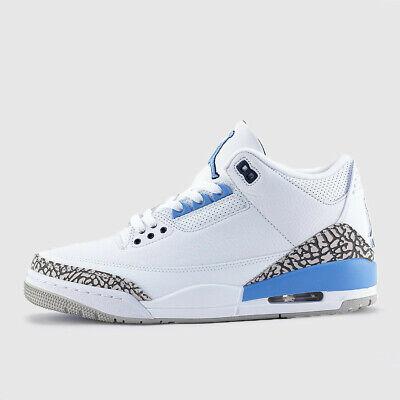 Nike Air Jordan Retro 3 UNC Carolina Blue White Valor Grey CT8532-104 Men 8-13
