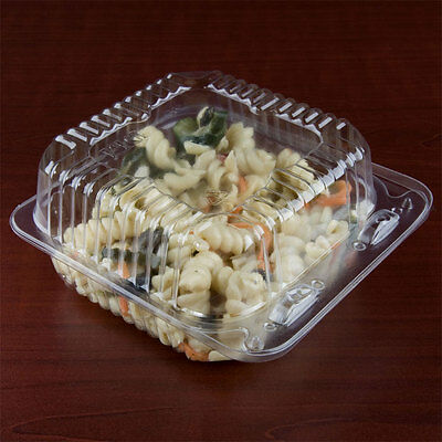 """5"""" x 5"""" x 3"""" Clear Hinged Lid Plastic Container 500/CS"""