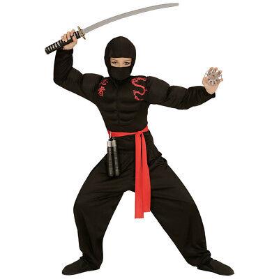 MUSKEL NINJA KOSTÜM KINDER Karneval Fasching Samurai Krieger Kämpfer Jungen 0052 ()