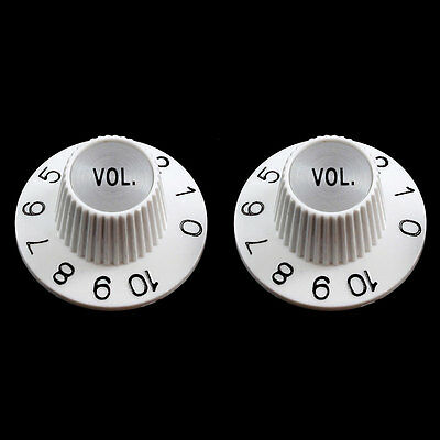 NEW (2) Witch Hat VOLUME Knobs For USA Split Shaft Pots Gibson Epiphone - WHITE - White Witch Hat