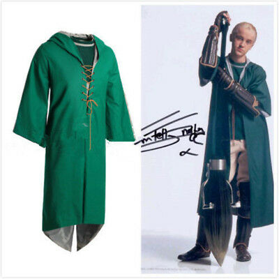 Slytherin Draco Malfoy Cape Quidditch Cloak Robe Cosplay Costume Custom - Quidditch Robes
