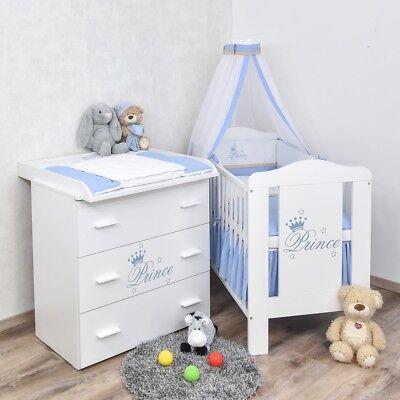 Babyzimmer Prinz Babybett Wickelkommode Bettwäsche Set Komplettzimmer