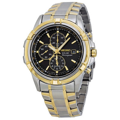 Seiko SSC142 Men's Solar Chronograph Black Dial Two-Tone Stainless Steel Watch