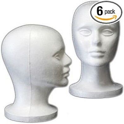 6pc Head Mannequin Female Styrofoam Display Tabletop Stand Hat Scarf Glasses Wig